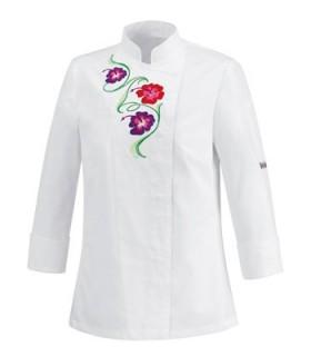 CHAQUETA COCINA FLOWERS WHITE